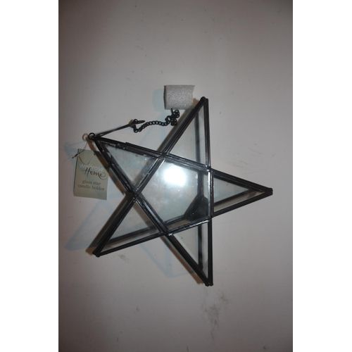 18 - UNUSED GLASS STAR LANTERNS IN BLACK...