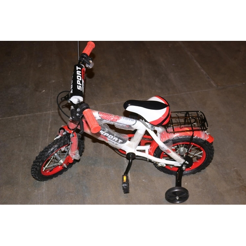 347 - BOXED 16 INCH KIDS SPORTS BIKE IN VARIOUS COLOURS TO INCLUDE RED, BLUE, PURPLE AND ORANGE RRP £60...