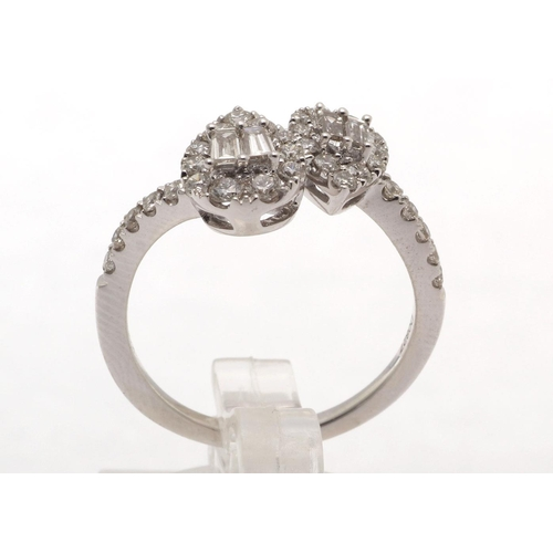 19 - Valued by GIE £10,980.00 - 18ct White Gold Double Pear Shape Cluster Diamond Ring 0.83 Carats, Colou...