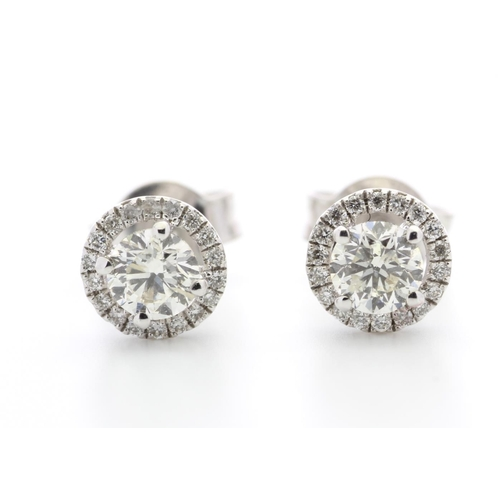 24 - Valued by GIE £10,210.00 - 18ct White Gold Single Stone With Halo Setting Earring 0.65 Carats, Colou...