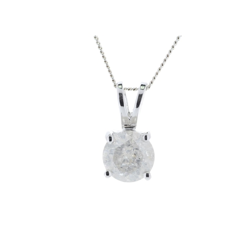 25 - Valued by GIE £6,255.00 - 18ct White Gold Single Stone Prong Set Diamond Pendant 1.36 Carats, Colour...