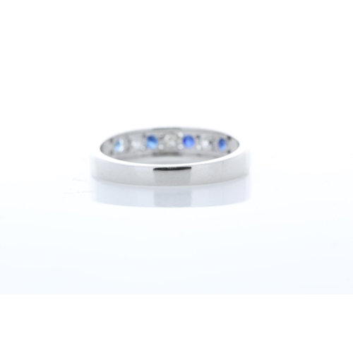 43 - Valued by GIE £2,795.00 - 9ct White Gold Channel Set Semi Eternity Diamond And Sapphire Ring 0.25 Ca...