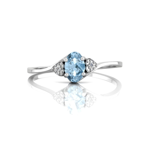 45 - Valued by GIE £760.00 - 9ct White Gold Fancy Cluster Diamond Blue Topaz Ring 0.01 Carats, Colour-D, ...