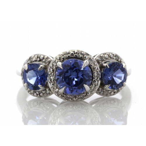 54 - Valued by GIE £2,750.00 - 9ct White Gold Created Ceylon Sapphire And Diamond Ring 0.10 Carats, Colou...