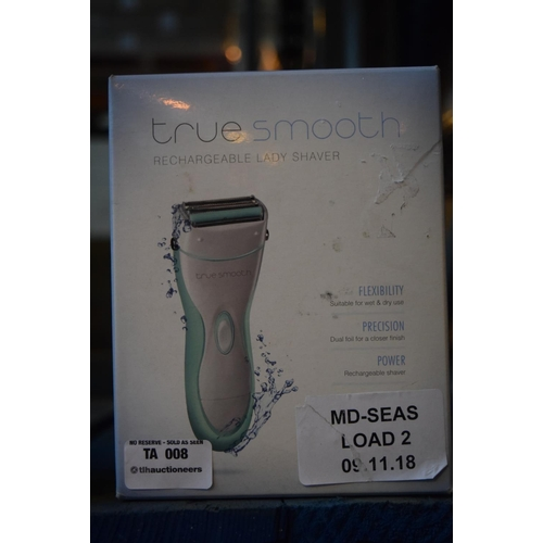 8 - 1X BOXED TRUE SMOOTH RECHARGEABLE LADIES SHAVER (09.11.18) (LOAD.2)...