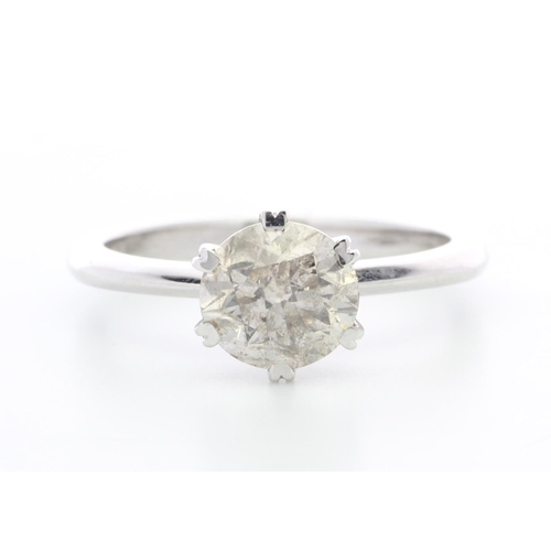 10 - Valued by GIE £19,750.00 - 18ct White Gold Single Stone Claw Set Diamond Ring 1.70 Carats, Colour-J,...