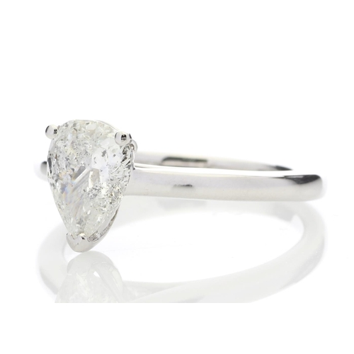 21 - Valued by GIE £16,489.00 - 18ct White Gold Single Stone Pear Cut Diamond Ring 1.02 Carats, Colour-F,...