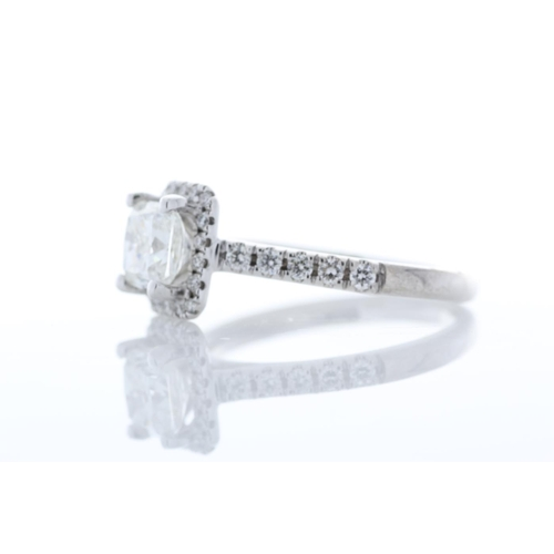23 - Valued by GIE £21,849.00 - 18ct White Gold Single Stone Radiant Cut  With Halo Stone Set Shoulders D...