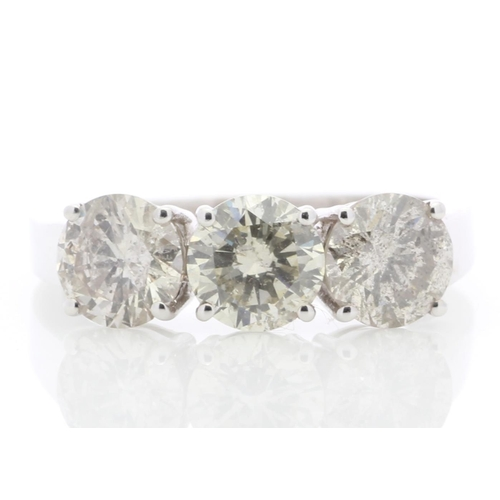 24 - Valued by GIE £24,950.00 - 18ct White Gold Three Stone Claw Set Diamond Ring 2.21 Carats, Colour-H, ...
