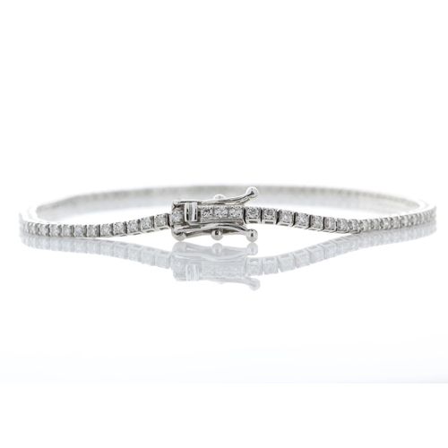 41 - Valued by GIE £20,350.00 - 18ct White Gold Tennis Diamond Bracelet 1.11 Carats, Colour-E, Clarity-SI...