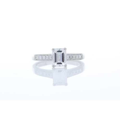 45 - Valued by GIE £45,000.00 - Platinum Single Stone Emerald Cut Diamond Ring 1.04 Carats, Colour-D, Cla...