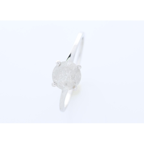 7 - Valued by GIE £6,335.00 - 18ct White Gold Single Stone Wire Set Diamond Ring 1.05 Carats, Colour-F, ...