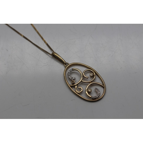 0H - 9CT YELLOW GOLD NECKLACE COMPLETE WITH A 0CT YELLOW GOLD AND DIAMOND LARGE PENDENT (52)...