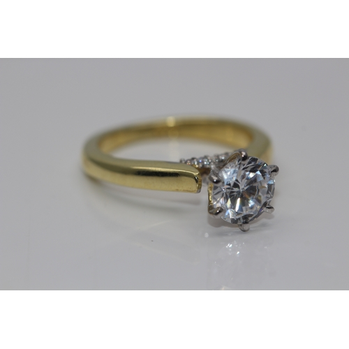 0 - BOXED BRAND NEW DIAMOND 1.00 CARAT LADIES ENGAGEMENT RING (SIMULATED) SET IN 18K YELLOW GOLD OVER 92...