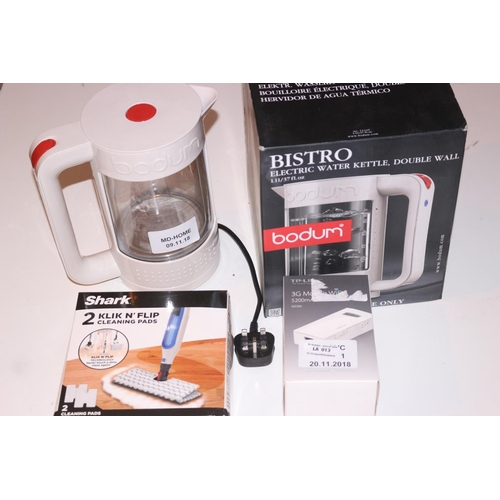 13 - ASSORTED ITEMS TO INCLUDE BISTRO WATER KETTLE, CLICK AND FLIP CLEANING PADS AND OTHER (20.11.18)...
