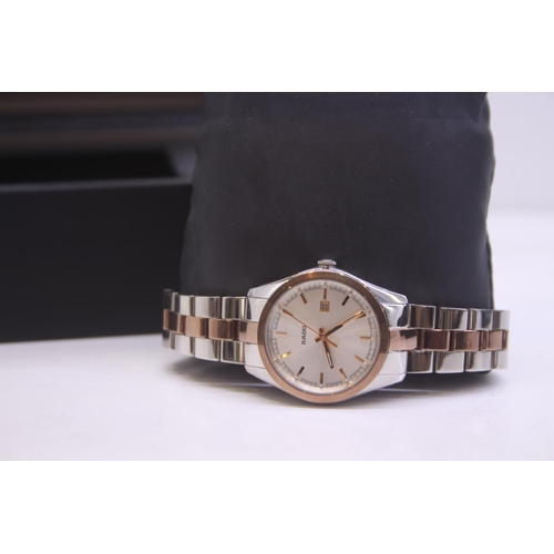 30 - BOXED BRAND NEW RADO LADIES TWO TONE ROSE GOLD AND STEEL WRIST WATCH COMPLETE WITH 2 YEARS INTERNATI...