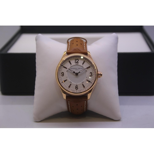 42 - BOXED BRAND NEW FREDERIQUE CONSTANT GENEVE GENTS WRIST WATCH OMPLETE WITH 2 YEARS INTERNATIONAL WARR...