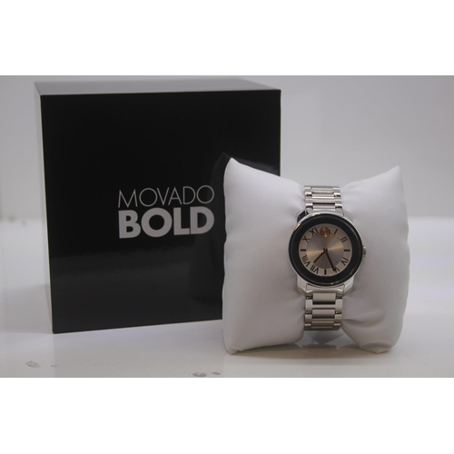 65 - BOXED BRAND NEW MOVADO BOLD WRIST WATCH COMPLETE WITH 2 YEARS INTERNATIONAL WARRANTY RRP £395...