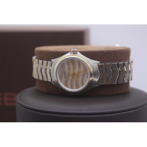 4 - BOXED BRAND NEW EBEL LADIES BI METAL GOLD AND STAINLESS STEEL WRIST WATCH COMPLETE WITH WAVE MOTHER ...