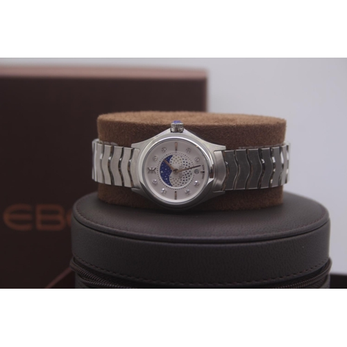 7 - BOXED BRAND NEW EBEL LADIES STEEL WRIST WATCH COMPLETE WITH STARRY NIGHT DIAL AND DIAMOND DOT COMPLE...