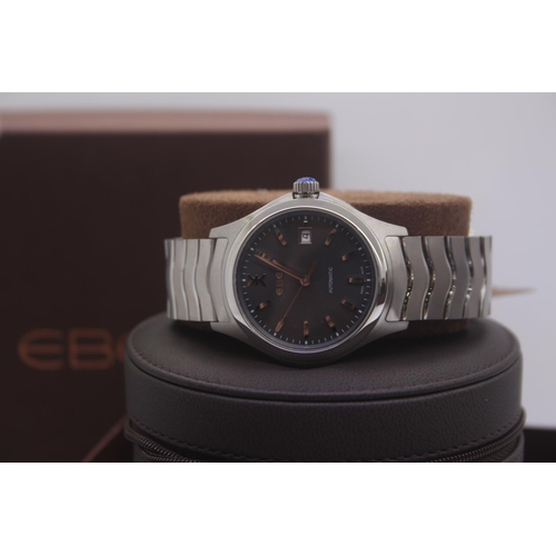 9 - BOXED BRAND NEW EBEL GENTS STEEL WRIST WATCH COMPLETE WITH SPACE GREY DIAL, 2 YEARS INTERNATIONAL WA...