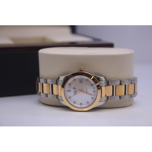 13 - BOXED BRAND NEW LONGINES LADIES BI METAL STEEL AND GOLD LADIES WRIST WATCH COMPLETE WITH A MOTHER OF...