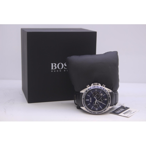 20 - BOXED BRAND NEW HUGO BOSS GENTS WRIST WATCH, NAVY LEATHER STRAP AND NAVY DIAL COMPLETE WITH 2 INTERN...