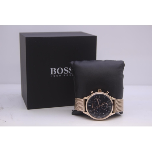 24 - BOXED BRAND NEW HUGO BOSS GENTS FULL STEEL WRIST WATCH COMPLETE WITH NAVY DIAL AND 2 YEARS INTERNATI...