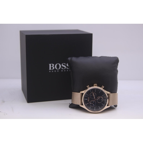 26 - BOXED BRAND NEW HUGO BOSS GENTS FULL STEEL WRIST WATCH COMPLETE WITH NAVY DIAL AND 2 YEARS INTERNATI...