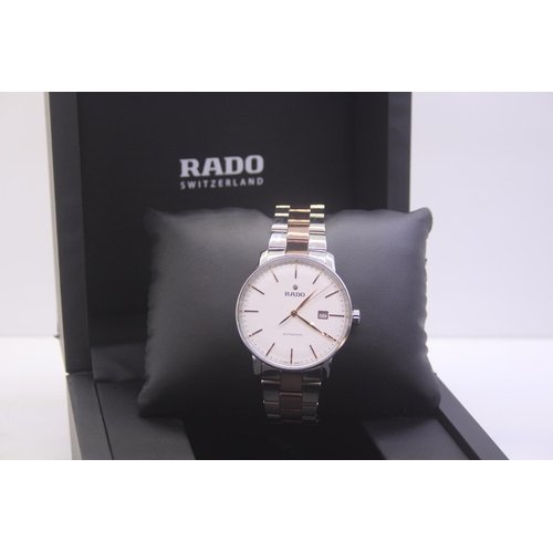 33 - BOXED BRAND NEW RADO GETNS TWO TONE ROSE GOLD AND STEEL WRIST WATCH COMPLETE WITH 2 YEARS INTERNATIO...