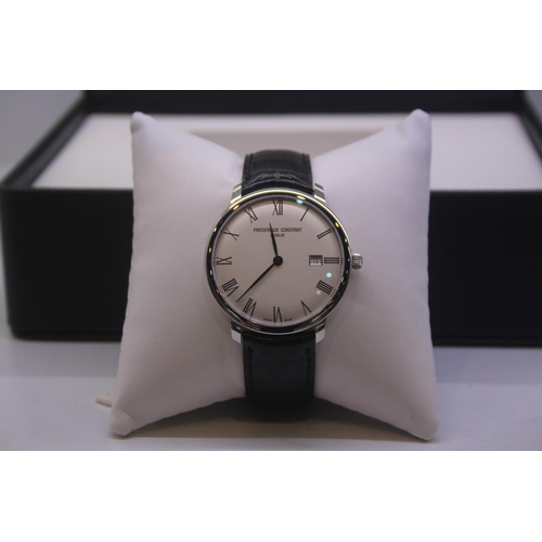 39 - BOXED BRAND NEW FREDERIQUE CONSTANT GENEVE GENTS WRIST WATCH OMPLETE WITH 2 YEARS INTERNATIONAL WARR...