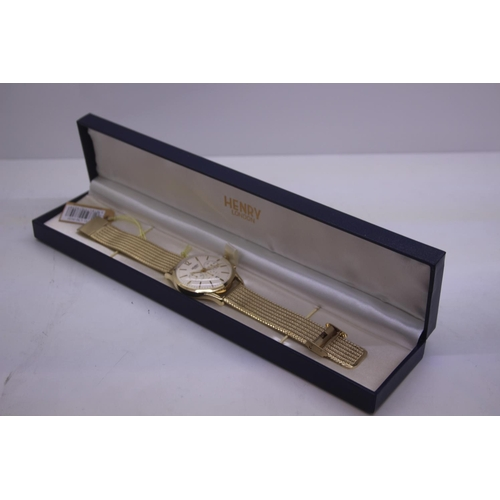 102 - BOXED BRAND NEW HENDRY DESIGNER WRIST WATCH COMPLETE WITH 2 YEARS INTERNATIONAL RRP £165...