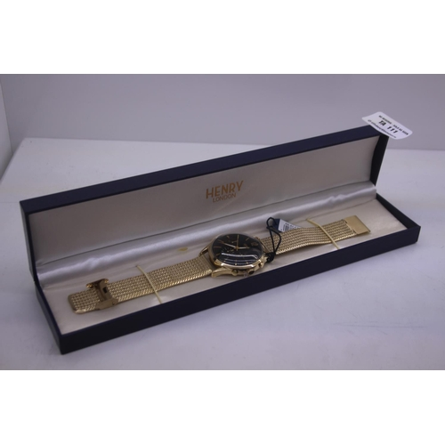 110 - BOXED BRAND NEW HENDRY DESIGNER WRIST WATCH COMPLETE WITH 2 YEARS INTERNATIONAL RRP £165...