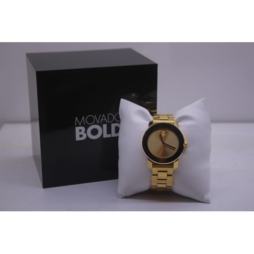116 - BOXED BRAND MOVADO BOLD DESIGNER WRIST COMPLETE WITH 2 YEARS INTERNATIONAL WARRANTY WATCH RRP £395...