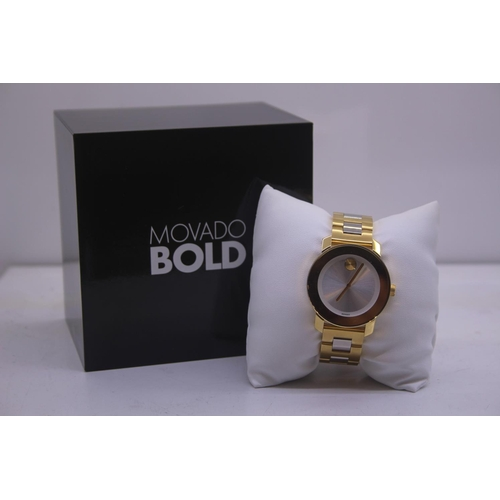 117 - BOXED BRAND MOVADO BOLD DESIGNER WRIST COMPLETE WITH 2 YEARS INTERNATIONAL WARRANTY WATCH RRP £395...