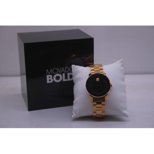 119 - BOXED BRAND MOVADO BOLD DESIGNER WRIST COMPLETE WITH 2 YEARS INTERNATIONAL WARRANTY WATCH RRP £395...