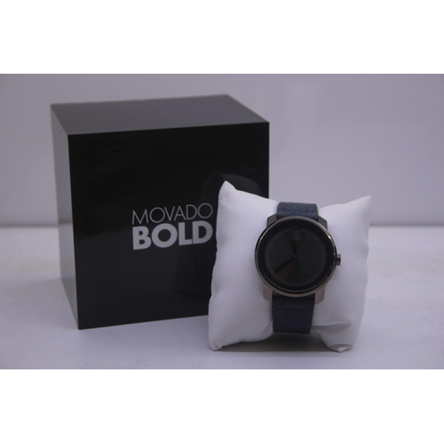 120 - BOXED BRAND MOVADO BOLD DESIGNER WRIST COMPLETE WITH 2 YEARS INTERNATIONAL WARRANTY WATCH RRP £395...