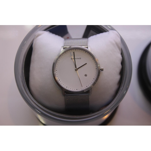 131 - BOXED BRAND NEW BERING DESIGNER WRIST WATCH COMPLETE WITH 2 YEARS INTERNATIONAL WARRANTY RRP £200...
