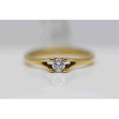 208 - **£950.00** 18CT YELLOW GOLD BRILLIANT CUT DIAMOND RING STONE WEIGHT: 0.24 CARAT, COLOUR G CLARITY: ...