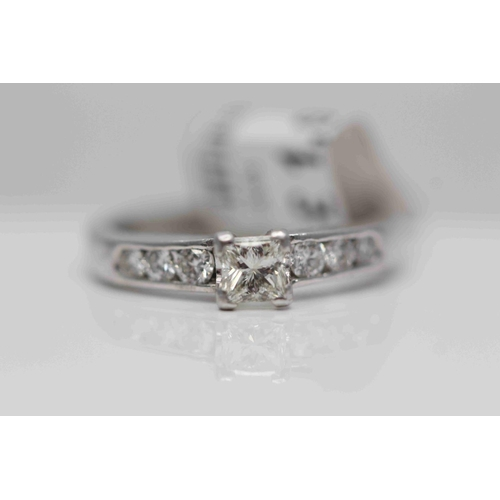 209 - **£2350.00** 18CT WHITE GOLD SOLITAIRE PRINCESS CUT DIAMOND AND BRILLIANT CUT DIAMOND SHOULDERS, TOT...