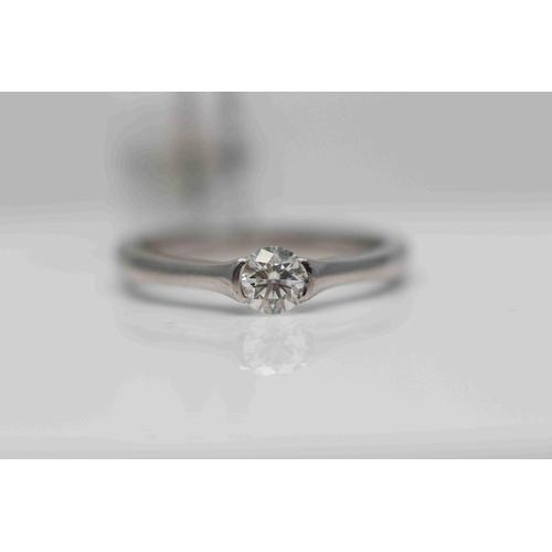 214 - **£1,100.00** PLATINUM BRILLIANT CUT DIAMOND RING RUB OVER SET STONE WEIGHT: 0.35 CARAT, COLOUR: H C...