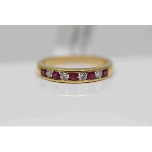 224 - **£1,200.00** 18CT YELLOW GOLD BRILLIANT CUT RUBY AND DIAMOND HALF ETERNITY RING DIAMOND WEIGHT (0.3...