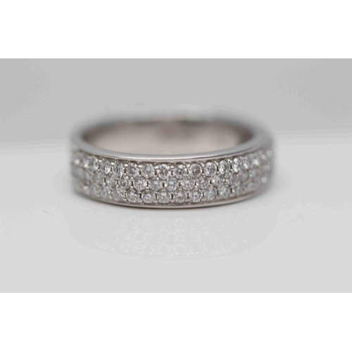 226 - **£3,250.00** 18CT WHITE GOLD 3 ROW BRILLIANT CUT DIAMOND 6MM WIDE BAND RING, DIAMOND WEIGHT (0.75 C...