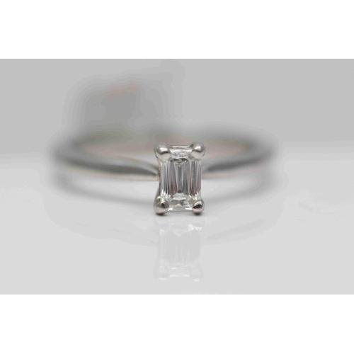 235 - **£2,295.00** PLATINUM EMERALD CUT SOLITAIRE DIAMOND RING STONE WEIGHT (0.38 CARAT) COLOUR: G CLARIT...