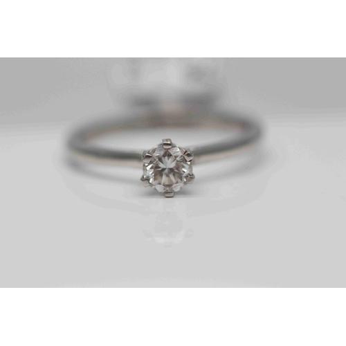 236 - **£2,850.00** PLATINUM SOLITAIRE  BRILLIANT CUT DIAMOND RING, DIAMOND WEIGHT (0.50 CARAT) COLOUR: H ...