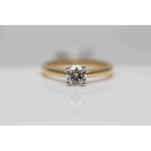 241 - **£3,995.00** 18CT YELLOW & WHITE GOLD BRILLIANT CUT SOLITAIRE DIAMOND RING (0.63 CARAT) CERTIFCATED...