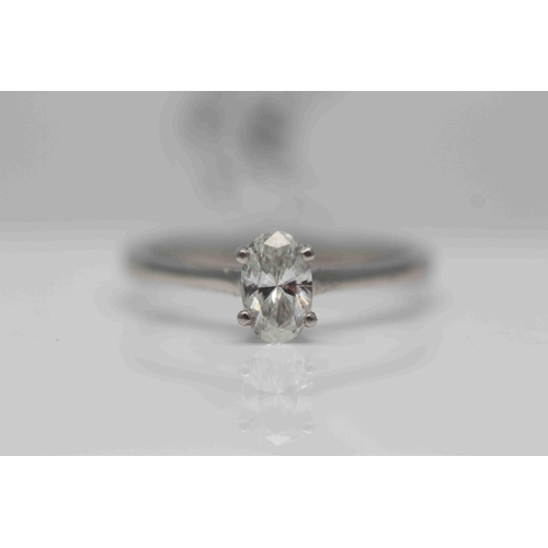 245 - **£3,250.00** PLATINUM OVAL SOLITAIRE DIAMOND RING (0.53 CARAT) COLOUR: H CLARITY: SI-1 VALUE £250 (...