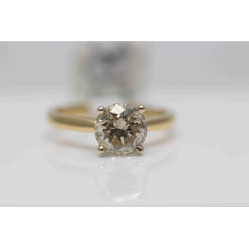 255 - **£15,750.00** 18CT YELLOW & WHITE GOLD SOLTAIRE BRILLIANT CUT DIAMOND RING (2.11 CARAT) COLOUR: K C...