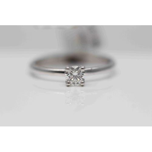 256 - **£1,450.00** 18CT WHITE GOLD (0.35 CARAT) BRILLIANT CUT SOLITAIRE DIAMOND RING COLOUR: H CLARITY: V...