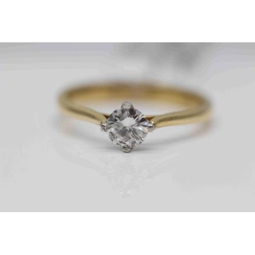 257 - **£1,950.00** 18CT YELLO2 & WHITE GOLD BRILLIANT CUT DIAMOND SOLITAIRE RING, (0.48 CARAT) COLOUR: H ...